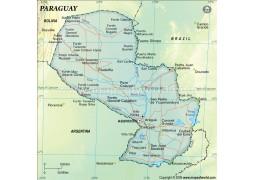 Paraguay Political Map, Dark Green  - Digital File