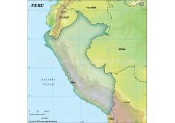 Peru Blank Map, Dark Green  - Digital File