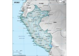 Peru Physical Map, Gray  - Digital File