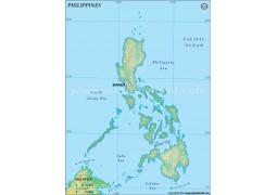 Philippines Blank Map, Dark Green  - Digital File