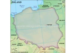 Poland Blank Map in Green Background - Digital File