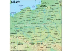 Poland Physical Map (Green Background) - Digital File