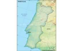Portugal Blank Map, Dark Green