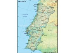 Portugal Political Map, Dark Green