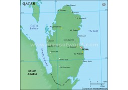 Qatar Physical Map, Green - Digital File