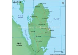 Qatar Political Map in Green Color - Digital File