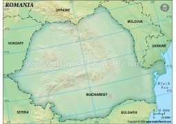 Romania Blank Map in Dark Green Background - Digital File