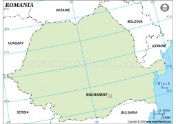 Romania Blank Map in Green Color