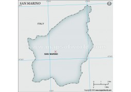 San Marino Blank Map, Gray