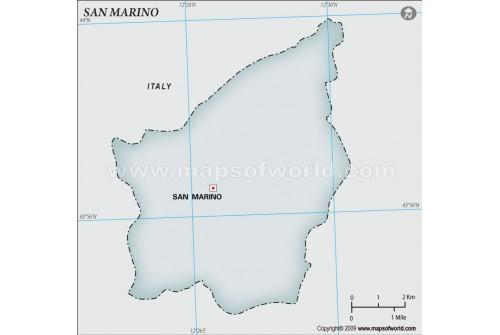 San Marino Blank Map, Gray