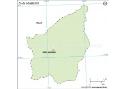 San Marino Outline Map, Green