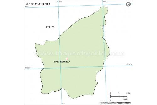San Marino Outline Map, Green