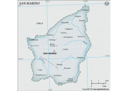 San Marino Map, Gray