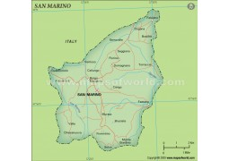 San Marino Political Map, Dark Green