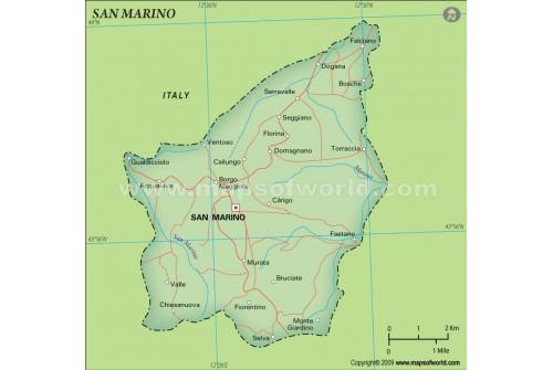 San Marino Political Map, Dark Green