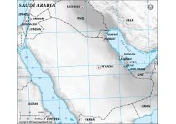 Saudi Arabia Blank Map in Gray Color - Digital File