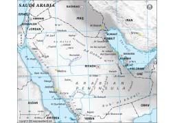 Saudi Arabia Physical Map with Cities in Gray Color - Digital File