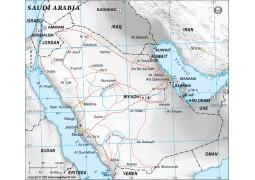 Saudi Arabia Political Map in Gray Color - Digital File