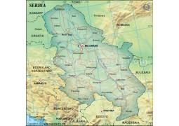 Serbia Political Map, Dark Green - Digital File