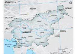 Slovenia Physical Map, Gray