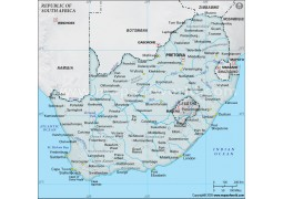 South Africa Physical Map in Gray Background