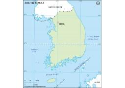 South Korea Outline Map in Green Color - Digital File