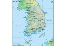 South Korea Political Map in Dark Green Background - Digital File