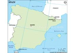 Spain Outline Map, Green  - Digital File