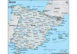 Spain Physical Dark Green  Map - Digital File