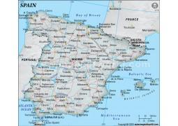 Spain Political Map, Green