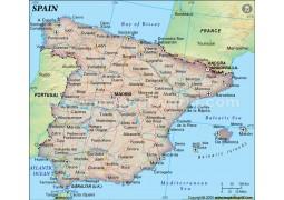 Spain Political Map, Dark Green