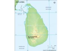 Sri Lanka Blank Map, Green  - Digital File
