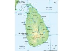 Sri Lanka Physical Map - Digital File