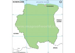 Suriname Outline Map, Green  - Digital File