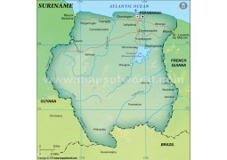 Suriname Political Map, Dark Green  - Digital File