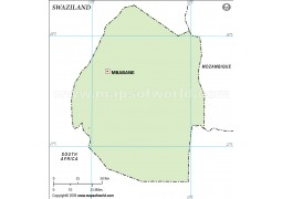Swaziland Outline Map in Green Color - Digital File