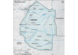 Swaziland Physical Map with Cities in Gray Color - Digital File