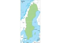 Sweden Outline Map, Green  - Digital File
