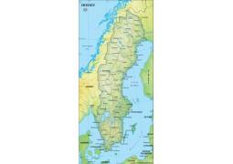 Sweden Political Map, Dark Green - Digital File