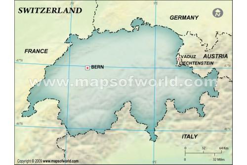 Switzerland Blank Map, Dark Green Background
