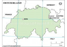 Switzerland Outline Map, Green Color