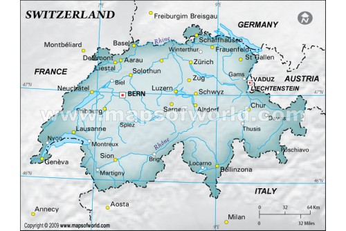 Switzerland Physical Map with Cities in Gray Background