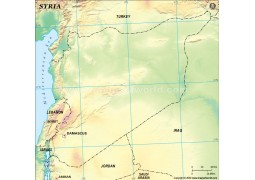 Syria Blank Map, Green - Digital File