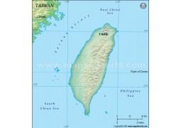 Taiwan Blank Map, Dark Green  - Digital File