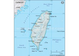 Taiwan Physical Map, Dark Green  - Digital File