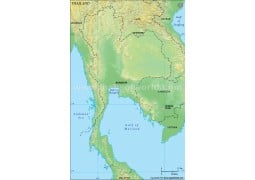 Thailand Blank Map, Green  - Digital File