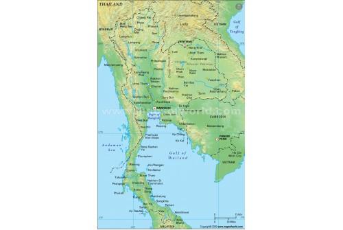 Thailand Physical Map, Green