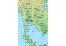 Thailand Political Map, Green  - Digital File