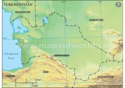 Turkmenistan Blank Map, Green - Digital File