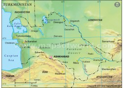 Turkmenistan Physical Map, Green - Digital File